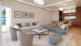 Het Moderne Binnenland van de woonkamer Royalty-vrije Stock Afbeelding