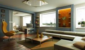 Het moderne binnenland van de zitkamerruimte Stock Foto's
