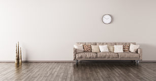 Het moderne binnenland van een ruimte met 3d bank geeft terug Stock Fotografie