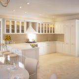 Het moderne binnenland van het keukenhuis Stock Foto