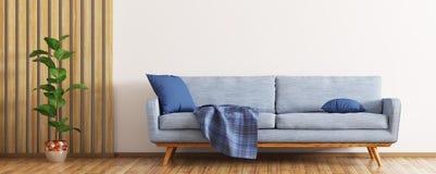 Het moderne binnenland van woonkamer met blauwe 3d bank geeft terug royalty-vrije illustratie