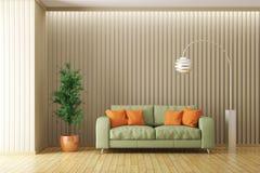 Het moderne binnenland van woonkamer met 3d bank geeft terug Royalty-vrije Stock Fotografie