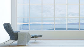 Het moderne binnenland van woonkamer oceaanmening met donkere leunstoel en het fluweel/3d geven beeld terug vector illustratie
