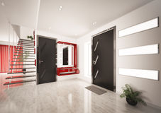 Het moderne binnenland van zaal met 3d trap geeft terug royalty-vrije illustratie