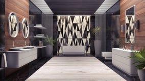 Het moderne binnenlandse 3d ontwerp van badkamers geeft 3d illustratie terug Stock Foto's