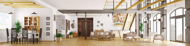 Het moderne binnenlandse 3d panorama van de zolderflat geeft terug royalty-vrije illustratie