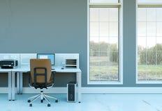 Het moderne binnenlandse het ontwerp van het huisbureau 3d Teruggeven Royalty-vrije Stock Afbeeldingen