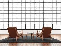 Het moderne binnenlandse reusachtige panoramische venster van de studiozolder, natuurlijke kleurenvloer Generisch ontwerpmeubilai Stock Foto's
