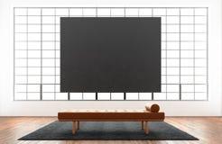 Het moderne binnenlandse reusachtige panoramische venster van de studiozolder, natuurlijke kleurenvloer Generisch ontwerpmeubilai Royalty-vrije Stock Afbeelding