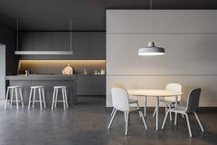 Het moderne comfortabele binnenland van de ontwerpkeuken met meubilair 3d geef terug royalty-vrije illustratie
