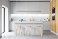 Het moderne comfortabele binnenland van de ontwerpkeuken met meubilair 3d geef terug stock illustratie
