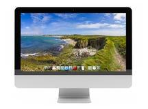 Het moderne computerscherm bij het witte 3D teruggeven als achtergrond Royalty-vrije Stock Afbeelding
