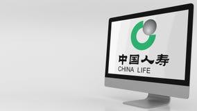 Het moderne computerscherm met China Life-Verzekeringsembleem 4K redactieklem stock videobeelden