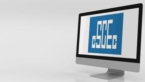 Het moderne computerscherm met de Bouwembleem van de Staat van China Het redactie 3D teruggeven Stock Foto's