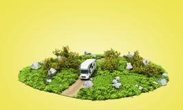 het moderne concept familie reist het huis op wielenritten stock afbeelding