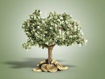 Het moderne concept winst van het investeren in 3d bitcoin geeft terug Royalty-vrije Stock Fotografie