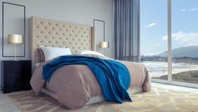 Het moderne 3d slaapkamer binnenlandse ontwerp geeft 3d illustratie terug Stock Afbeeldingen