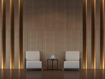 Het moderne 3d teruggevende beeld van de woonkamer binnenlandse minimale stijl Royalty-vrije Stock Afbeelding