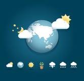 Het moderne de kleurenOntwerp van weerpictogrammen/kan voor infographics worden gebruikt Royalty-vrije Stock Fotografie