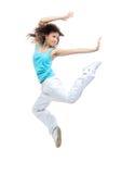 Het moderne de vrouwendanser van het sportmeisje springen stelt het dansen stock afbeeldingen