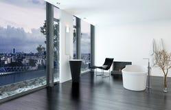 Het moderne eigentijdse binnenland van de luxebadkamers Stock Afbeeldingen