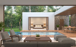 Het moderne eigentijdse 3d teruggevende beeld van de poolvilla stock illustratie