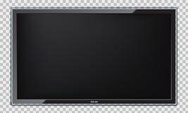 Het moderne Geleide TV-scherm met realistische bezinning stock afbeeldingen