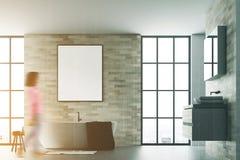 Het moderne gestemde wit van de badkamers binnenlandse affiche Stock Afbeeldingen