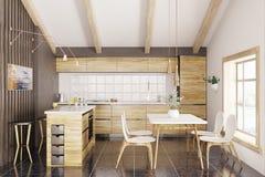 Het moderne houten keuken binnenlandse 3d teruggeven stock illustratie