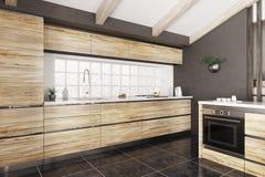 Het moderne houten keuken binnenlandse 3d teruggeven vector illustratie