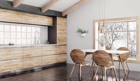 Het moderne houten keuken binnenlandse 3d teruggeven royalty-vrije stock afbeeldingen