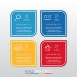 Het moderne informatie-Grafische Malplaatje voor Zaken met vier stappen veelkleurig ontwerp, etiketten ontwerpt, Vector informati Stock Fotografie