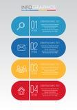 Het moderne informatie-Grafische Malplaatje voor Zaken met vier stappen veelkleurig ontwerp, etiketten ontwerpt, Vector informati stock illustratie