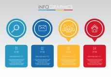 Het moderne informatie-Grafische Malplaatje voor Zaken met vier stappen veelkleurig ontwerp, etiketten ontwerpt, Vector informati vector illustratie