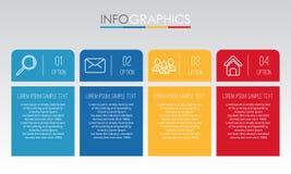 Het moderne informatie-Grafische Malplaatje voor Zaken met vier stappen veelkleurig ontwerp, etiketten ontwerpt, Vector informati Stock Foto's