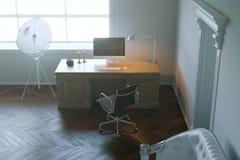 Het moderne kabinet van het ontwerpbureau in het ochtendlicht 3d geef terug Stock Afbeeldingen