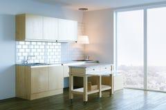 Het moderne keuken binnenlandse ontwerp met panoramisch 3d venster geeft terug Royalty-vrije Stock Afbeelding