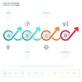 Het moderne kleurrijke malplaatje van de pijlinfographics van de bedrijfschronologiecirkel met pictogrammen en elementen Royalty-vrije Stock Fotografie