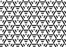 HET MODERNE LINEAIRE NAADLOZE VECTORpatroon VAN GEOMERTIC ZWART-WIT GESTREEPTE DRIEHOEK IN WEB Radioactief symbool stock illustratie