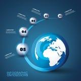 Het moderne Malplaatje Bedrijfs van Infographic met Aardebol en Spiraalsgewijs bewegende Gebieden stock illustratie