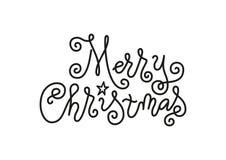 Het moderne monolijnkalligrafie van letters voorzien van Vrolijke die Kerstmis in zwarte verfraaide met ster op wit wordt geïsole stock illustratie