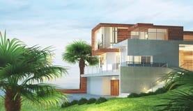 Het moderne nieuwe huis met 3d palm en mening, geeft illustratie terug Stock Fotografie