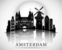 Het moderne Ontwerp van de de stadshorizon van Amsterdam nederland Stock Afbeeldingen