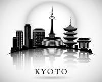Het moderne Ontwerp van de de Stadshorizon van Kyoto royalty-vrije illustratie