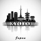 Het moderne Ontwerp van de de Stadshorizon van Kyoto Stock Afbeelding