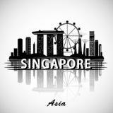 Het moderne Ontwerp van de de Stadshorizon van Singapore vector illustratie