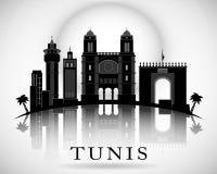 Het moderne Ontwerp van de de Stadshorizon van Tunis Stock Afbeelding