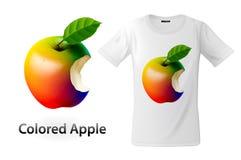 Het moderne ontwerp van de t-shirtdruk met gekleurde gebeten appel, gebruik voor sweatshirts en herinneringen, gevallen voor mobi Royalty-vrije Stock Afbeeldingen