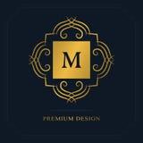 Het moderne Ontwerp van het Embleem Geometrisch aanvankelijk monogrammalplaatje Brievenembleem M Teken van onderscheid Universeel Stock Foto's