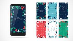 Het moderne ontwerp van het Kerstmisscherm voor mobiele app met Webpictogrammen vector illustratie